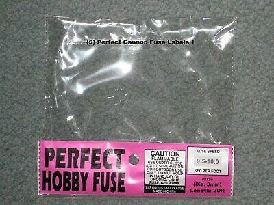 (5) Cannon Fuse LabelsPerfect Hobby Firework Fuse 3mm Label +