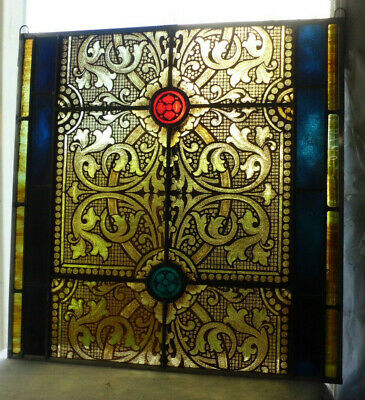 Antique Church Stained Glass Window Architectural Salvage Gothic Ornate Tracery