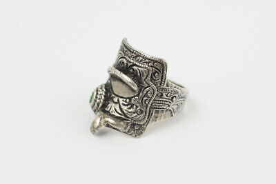 Vintage Sterling Silver & Green Stone Western Style Horse Saddle Ring