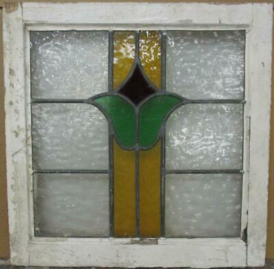 "OLD ENGLISH LEADED STAINED GLASS WINDOW Abstract Floral Design 20.5"" x 20.75"""