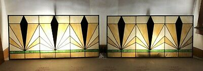 22ft -Amazing Set of Three Art Deco Antique Stained Glass Windows c1920s-LARGE!