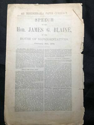 1876 JAMES BLAINE Paper Currency HOUSE of REPRESENTATIVES Congress GOLD STANDARD