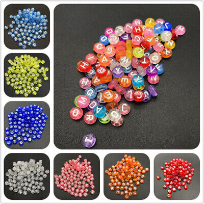 100pcs 7mm Transparent Mix Letter Beads Oval Spaced Beads For Jewelry Making