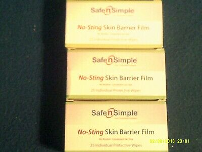 3 Boxes--Safe N Simple--No-Sting Skin Barrier Film--75 Individual  Wipes
