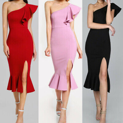 CA Fashion Women Ruffle One Shoulder Cocktail Party Club Mermaid Pencil Dress