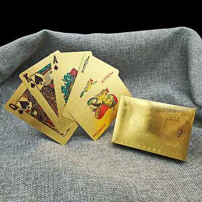 Embossed 24K Gold Foil Plated Flash Texture Playing Cards Table Game Poker Cards