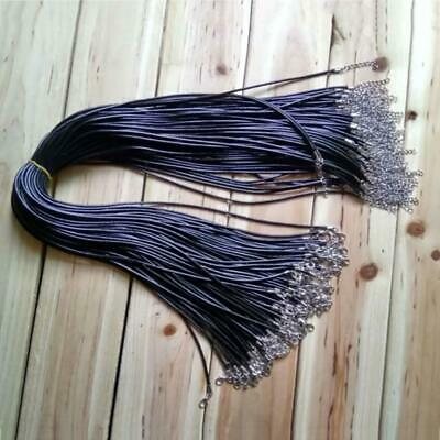 Black 2mm Waxed Leather Necklace Chain Cord Perfect For Any Pendant BR