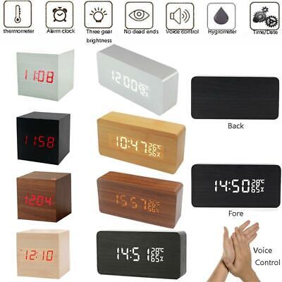 Classical Triangular Digital LED Wood Wooden Desk Alarm Clock Thermometer BR