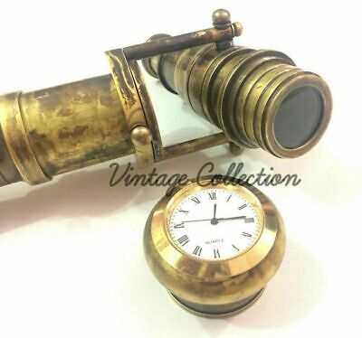 BRASS SOLID Vintage Hidden Telescope WITH CLOCK Canes Wooden Walking Stick
