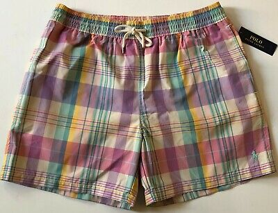 33b264c493 NEW Men L Polo Ralph Lauren Swim Shorts Traveler Plaid Check Swim Trunks