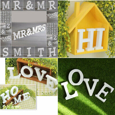 Alphabet Up Wall Stickers DIY Decor Wood English Letters Standing Hanging White