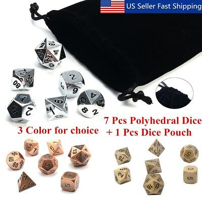 7Pcs/set Antique Metal Polyhedral Dice w Bag DND RPG MTG Role Playing Board  US