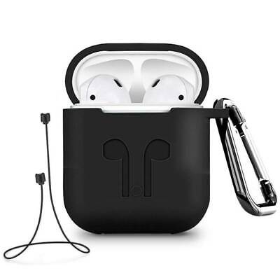 For Apple Air Pods Charging Silicone Case Cover + Earphone Anti Lost Strap Rope