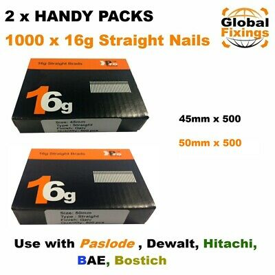2 x Handy Packs 45mm + 50mm - MIXED 1000 16g STRAIGHT for Dewalt Paslode Nails