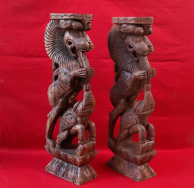 Wooden Wall Bracket Yali Elephants Sculpted Corbel Pair Vintage Statue Ornament