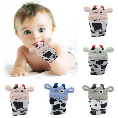 UK Baby Silicone Mitts Teething Mitten Cow Teething Molar Gloves Wrapper Teether