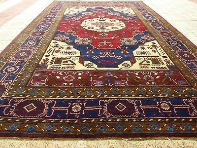 1920's  Antique Caucasian Kazak Geometric Handmade Rug 7 Ft X 9 Ft