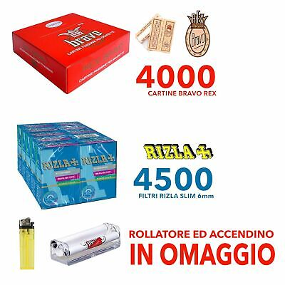 4000 CARTINE BRAVO REX CORTE REGULAR + 4500 FILTRI RIZLA SLIM 6 mm + OMAGGIO