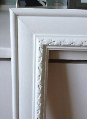Extra Large Vintage Wooden Ornate Picture Frame - Hand Painted White - Wedding