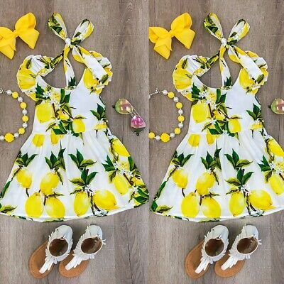 Cute Children Baby Girls Fly Sleeve Fruits Print Dance Party Dress Kids Clothes