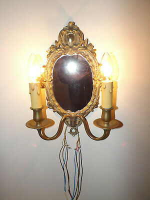 Vintage French Rococo Style Ormolu Mirror & Double Light Wall Sconce