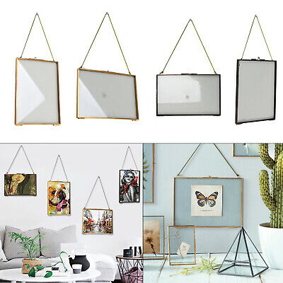 Metal + Glass Double Sided Hanging Photo Picture Frame Vintage Industrial Style