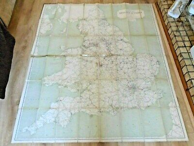 Large Vintage Railway Clearing House Official Railway Map England & Wales 1923