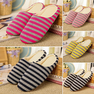 Men Women Soft Warm Striped Indoor Slippers Mule House Home Anti-slip Shoes