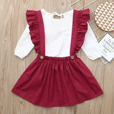2PC Children's Kids Girls Long Sleeve Tops Blouse+Suspender Party Skirt Outfit