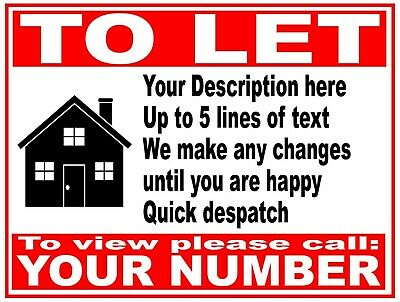 PERSONALISED House Flat Property TO LET RENT sign boards 4mm Correx  81 x 61 cm