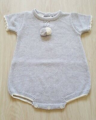 0e55870b7 BABY BOY SPANISH Style Knitted Romper 2 Piece Set with Pom Poms ...