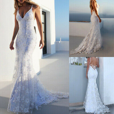 Spring Women Fashion Lace Backless Deep V Neck Sleeveless Long Party Dress CA