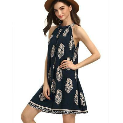 CA Sexy Womens Summer Feather sleeveless O-Neck Boho Above knee Mini Dresses