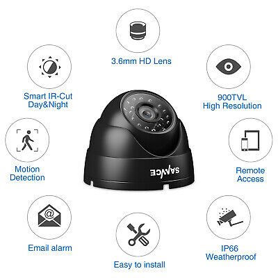 SANNCE 1x 900TVL Dome Home CCTV Security Camera In/ Outdoor 24 IR Night Vision