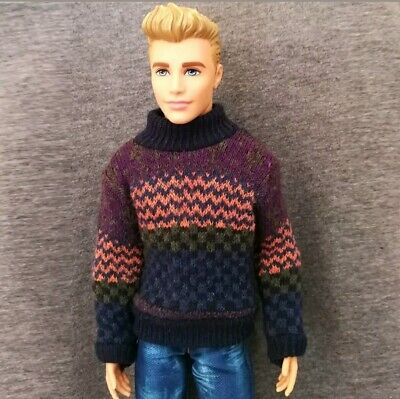 "Handmade doll clothes sweater for 12"" Ken dolls"