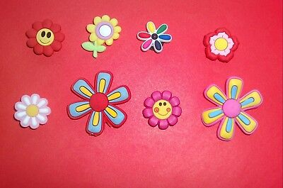 8 Cute Pretty Flowers jibbitz croc shoe charms wrist hair loom band cake toppers