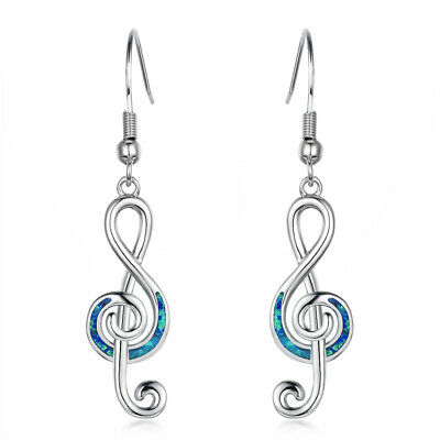 Musical note Blue Imitation Opal Inlay Silver Jewelry Dangle Drop Earrings