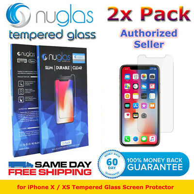 Genuine NUGLAS 2x Tempered Glass Screen Protector For Apple iPhone X XS