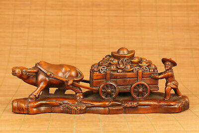 copy antique old handwork boxwood ox bring money lucky gift statue collectable