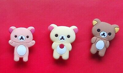 3 Teddy Bears jibbitz crocs shoe charms wrist loom band cake toppers decorations