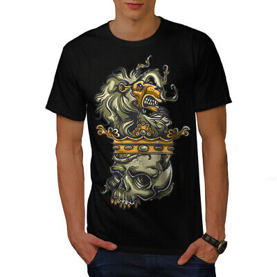Wellcoda Lion Head King Dead Mens T-shirt, Crown Graphic Design Printed Tee