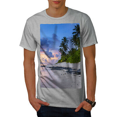 Summer Graphic Design Printed Tee Wellcoda Sunset Wild Sea Mens T-shirt