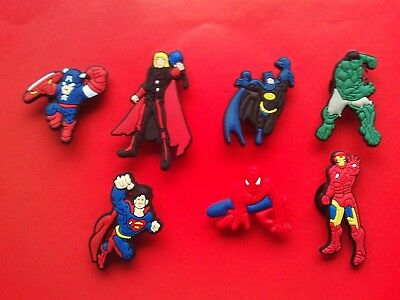 7 Avengers Batman Hulk Spiderman Superman Thor jibbitz crocs cake toppers