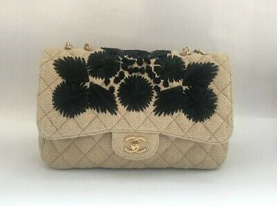 2dc01af77f75 Chanel Beige Timeless Classic Coco Raffia Country Flap Country Shoulder Bag