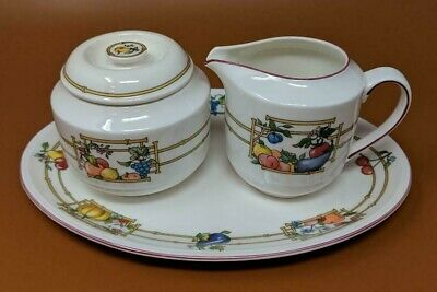 Villeroy & Boch Mon Jardin 4 piece cream lidded sugar and plate My Garden