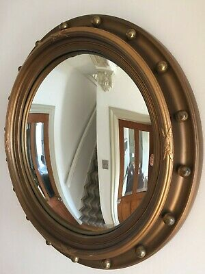 EXTRA LARGE Vintage Round Convex Mirror Gold Ball Mid Century Mantle 53cm m217