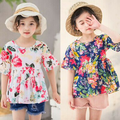 2PC Toddler Kids Baby Girls Ruched Floral Flowers Tops Solid Short Casual Outfit