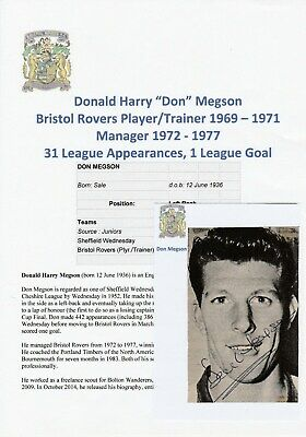 Don Megson Bristol Rovers 1969-1971 Original Football Autograph Magazine Picture