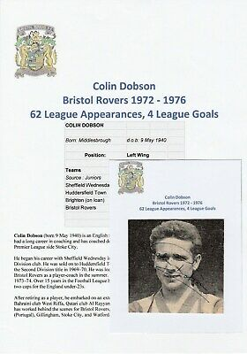 Colin Dobson Bristol Rovers 1972-76 Original Football Autograph Magazine Picture