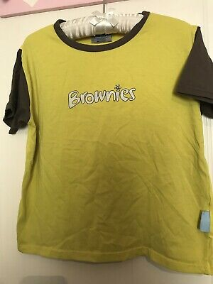 Girls Official Brownies T-Shirt Top Size 30 In / 75 Cm Yellow And Brown